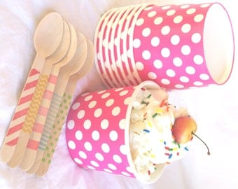 24 Large ICE CReaM cups-PiNK with WHiTe DoTS-and 24 hand-stamped wooden spoons-full sized-choice of color/pattern