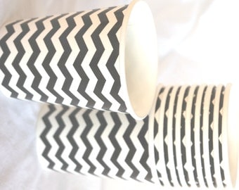 PaRTy CuPs BlaCK and White chevron-with free DIY printable label option--Birthday parties---10ct