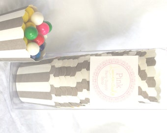 Small Grey Stripe-Boxed-Nut/Candy/Baking Cups-20ct--Parties--cupcakes-gumballs-snacks