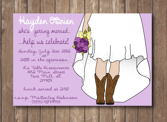 Boots Wedding Invitations: Items Similar To Printable Bridal Shower Invitation