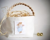Peter Rabbit Easter Basket with Treat Pocket - Boy Girl - Vintage Beatrix Potter Fabric - Small or Large - Decor, Decoration, Easter Bunny