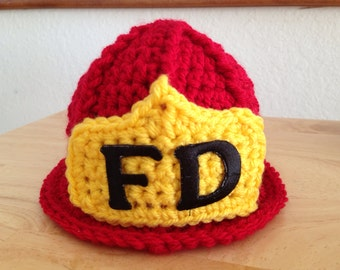 Baby Fireman Firefighter Crochet Hat in Red, Preemie, Newborn, 0-3, 3-6, Photography Prop - MADE TO ORDER