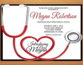 Stethoscope Nursing / Medical Degree Graduation Party Invitation Cards PRINTABLE DIY