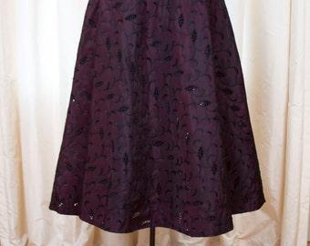 1950s Skirt // Wine Sharkskin Eyelet Lace Taffeta A-line Skirt Skirt