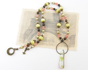 White Pendant Necklace with Pink Green Brown Gemstone Pearl Crystal Wood Beaded Jewelry