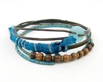 Turquoise Bracelet Stack, Gypsy Aqua Bracelet, Brown Bangle Bracelet, Textile Bracelet  Rustic Wire Boho Jewelry