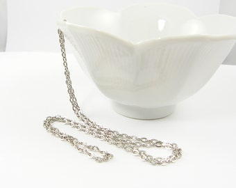 30 Inch Antique Silver Necklace Chain Medium Link Antique Silver Plated Oval Chain |CH2-Med-AS30