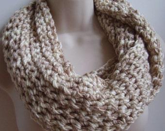 crochet infinity scarf, loop scarf, circle scarf, eternity scarf, cream and tan chunky scarf