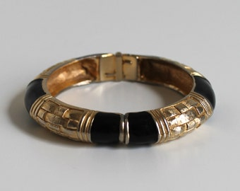 Vintage Gay Boyer Gold Basket Weave and Black Clasp Bangle