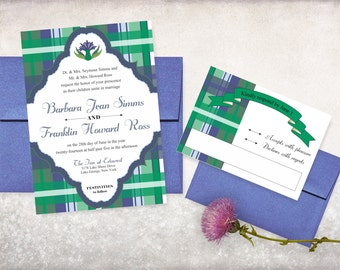 Thistle & Plaid Preppy Wedding Invitation