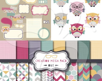 Creation MEGA PACK 1 - Clipart and Digital Papers - Commercial and Personal Use