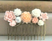 Peach Wedding Hair Comb Blush Pink Apricot Bridal Head Piece Bridesmaid Gift Flower Hair Pin Floral Collage Shabby Chic Soft Orange Pastel