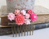 Hot Pink Wedding Hair Comb Flowers Fuchsia Floral Bridal Head Piece Bridesmaids Hair Pin Pink Tone Shabby Chic Sweet Girly Vintage Style