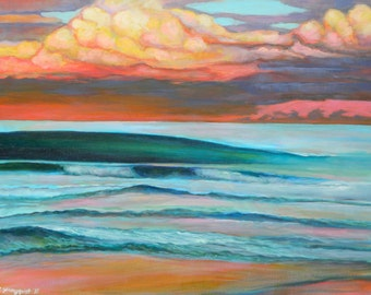 "Surf Art/ Wave painting/ CANGGU CLUB BALI  11"" x 14"" GIclee on Canvas/ Fine art print"