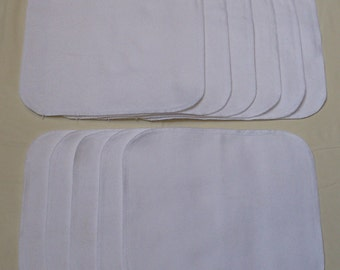 Set of 15 Solid White, reusable cloth napkins, baby wipes, lunch napkins