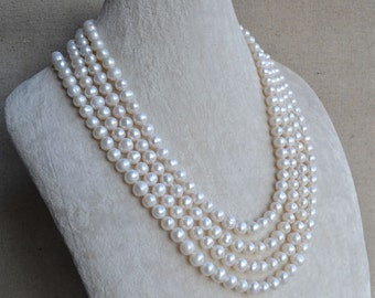 pearl necklace - 80 inches 6.5-8mm White Freshwater Pearl Necklace, pearl long necklace,real pearl necklace,genuine pearl necklace