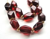 Garnet Red Necklace - Deep Red & Gold Handmade Jewelry