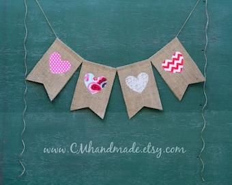 Valentine's Day {HEARTS} burlap banner