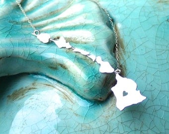 State of Hawaii Necklace, Hawaiian Islands, Heart in Hawaii Sterling Silver or 14kgf