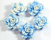 5 Blue Polymer Clay Rose Beads size 40mm Center Drilled and perfect for jewelry making or crafting - absolutely gorgeous