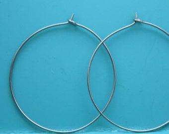 Niobium Wire Hoop Earrings, Choose your size from 1- 2 inches, Hypoallergenic Earrings, Boho Hippie Hoops