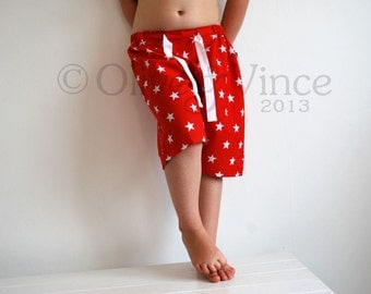 SALE - Red star shorts kids 2-3yrs ready to ship clothing colourful babies funky baggy skater clothes comfortable cord tie adjustable