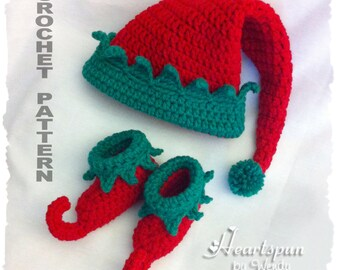 CROCHET PATTERN to make a Christmas Elf Baby Hat and Shoe Set  in 3 sizes, PDF Format, Instant Download