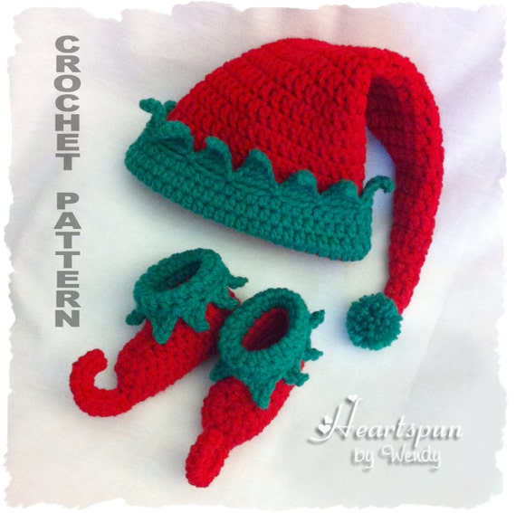 CROCHET PATTERN for Christmas Elf Baby Hat and Shoe Set in 3 sizes ...