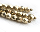 4mm glass beads - Light golden coated - czech fire polished spacers, round - 50Pc - 1073 - MayaHoney