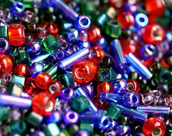 Toho Seed beads MIX - Red Green Blue - N 3226, rocailles, christmas mix, glass beads - 10g - S240