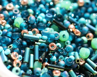 Teal Green Seed Beads Mix, TOHO - Teal - N 3222, indicolite, rocailles, glass beads - 10g - S269