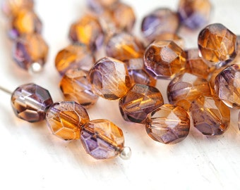 6mm Czech glass beads - Amber Orange Purple coated Fire polished round faceted spacers - 30Pc - 0959