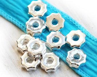 Bright Silver spacers, Greek ceramic beads, rondels, rondelles, wheel, 8mm - 10pc - F027