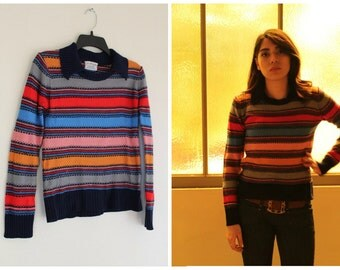 Vintage 1970s striped shirt multi color jewel tones collar knit top bohemian folk pullover size small