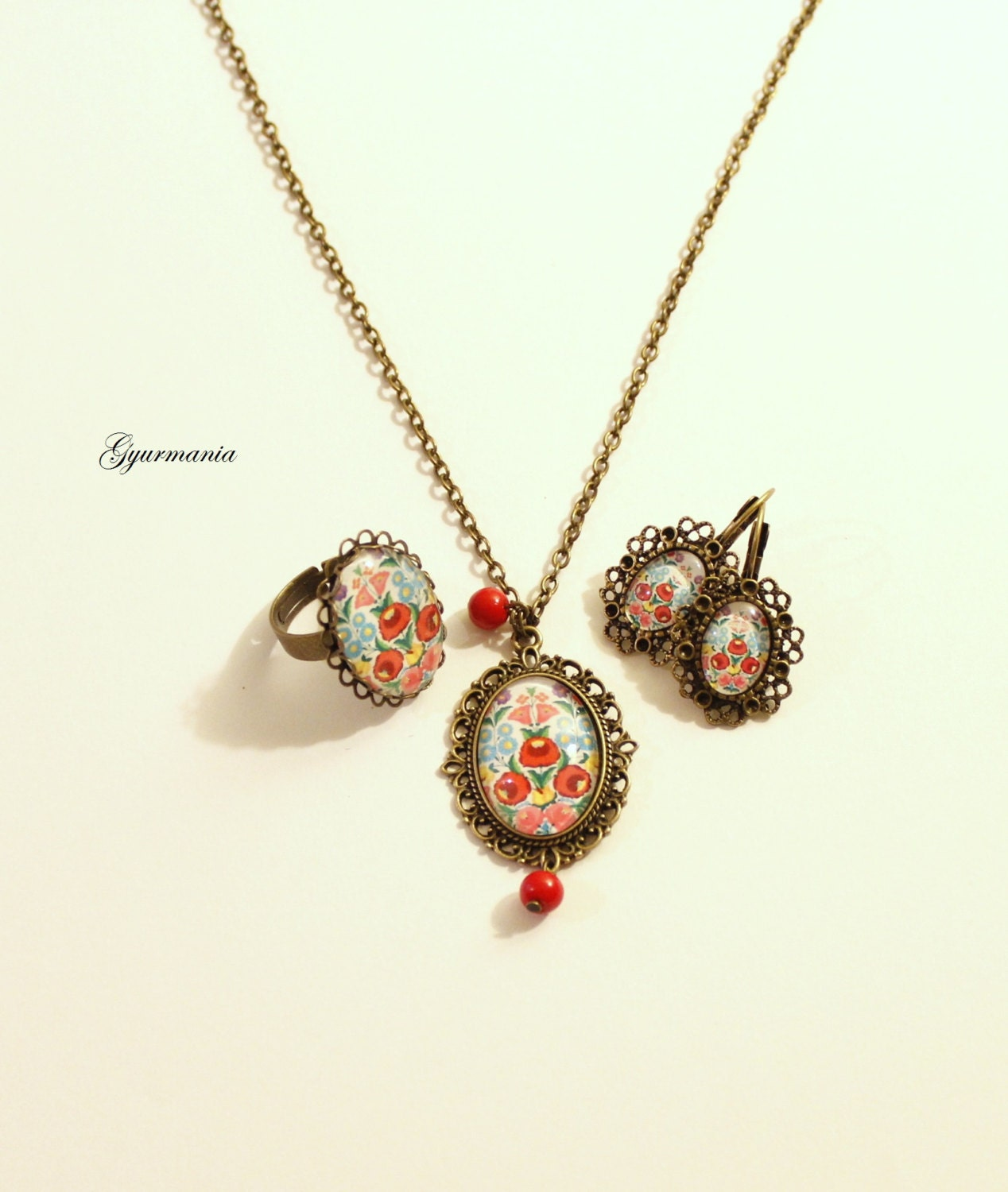 hungarian folk jewelry set necklace ring and earring