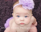 Baby headband, girl headband, newborn headband - Lavender SMALL SIZE lace and chiffon shabby chic flower rose headband