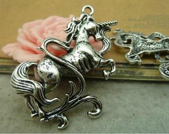 2 pcs 46x47mm antique silver large unicorns licornes charms pendants fc93584