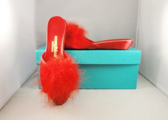 Items Similar To Vintage Slippers 50s Oomphies Red Feather Satin Lingerie Boudior Bedroom