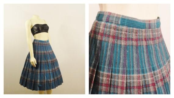 Vintage Skirt 60s Pendelton Wool Plaid Full Skirt Mad Men Teal Fuchsia Gray Size S / M