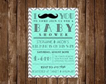 Mustache Baby Shower Invitation 20ct.