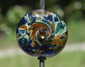 Whirligig Spinner Handmade Lampworked Glass Bead OOAK Focal Blue Green Amber Lampwork