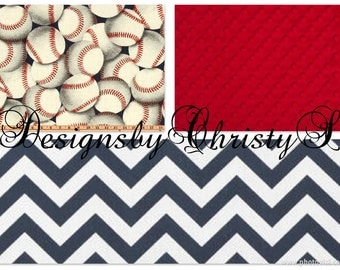 Baseball Baby Boy Crib Bedding - Baseball and Navy Chevron Bedding Ensemble