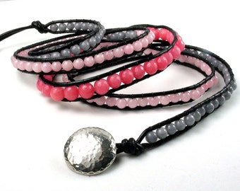 Cherry Blossom Pink and Grey Leather Wrap Bracelet