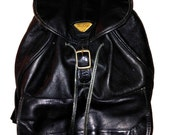 SALE 90s Black Leather Backpack with Front Flap Pocket