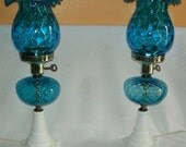Pair Fenton Blue Thumbprint Lamps Milk Glass Base