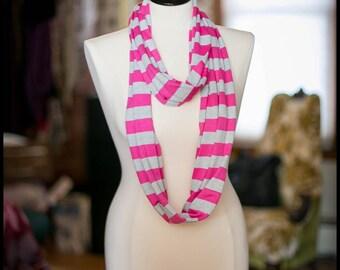 Infinity Scarf - Jersey Knit - Pink & Grey