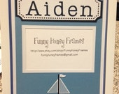PERSONALIZED/Custom PICTURE frame MATTING Baby Boy Sailboat- Matting Only