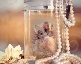 Cute beach jar with pearls sand beachy Instant Download for elements, photoshop/instruction sheet download template add to your business