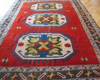 Reduced,Vintage beautiful Turkish Caucasian Kazak Rug,Size 10 x 6.11 ft.
