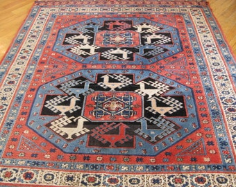 Reduced,Fabulous Vintage Turkish Animal Figures Wool rug, Size 6.9 x 5.7 ft. Excellent Condition